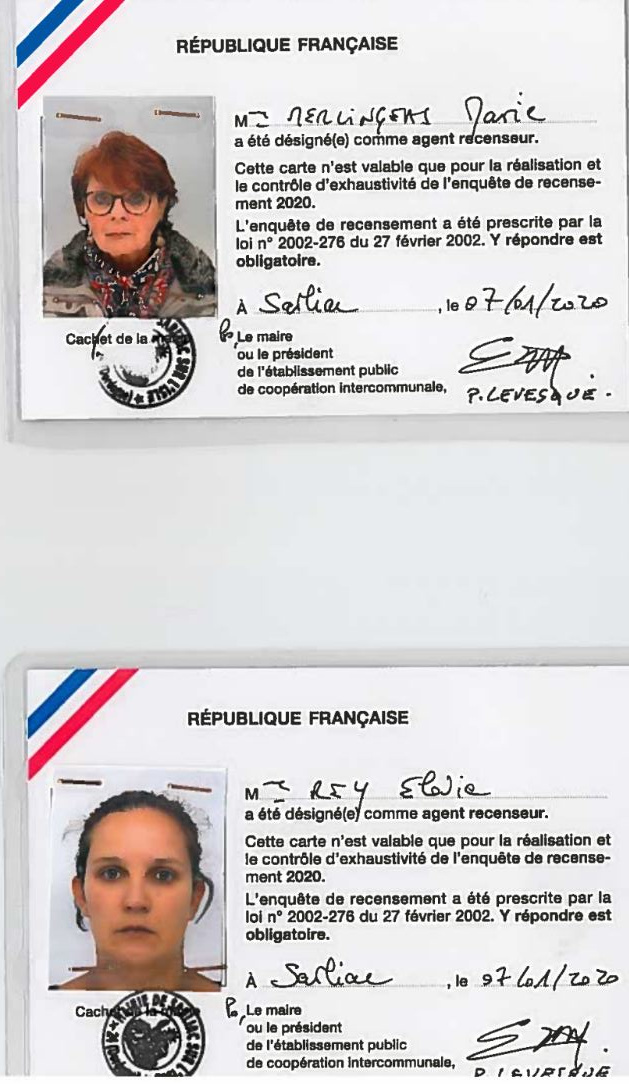 Les copies des cartes des 2 Agents recenseurs - JPEG - 195.7 ko